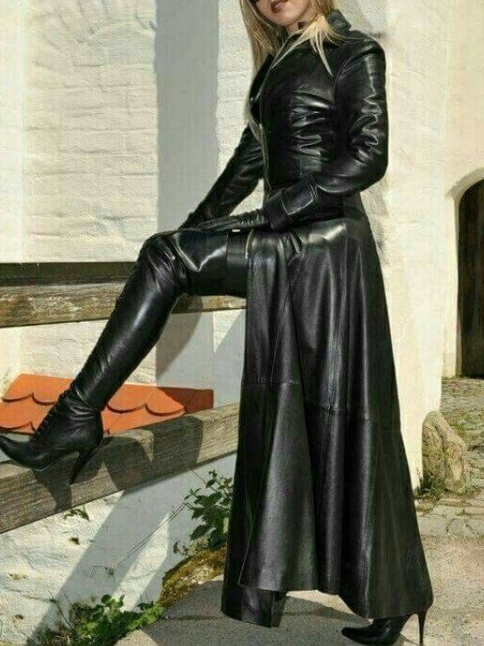 Women Long Leather Coat