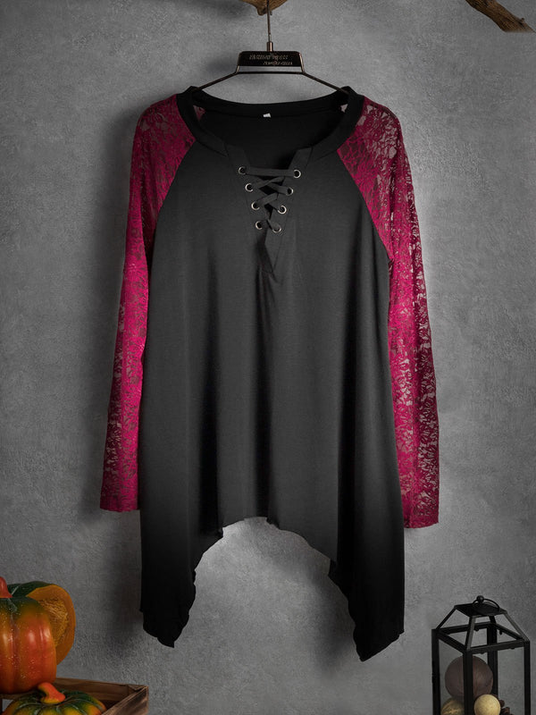 Lace stitching irregular long sleeves