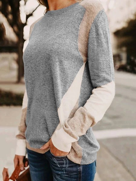 Color Block Knitted Plus Size Sweaters