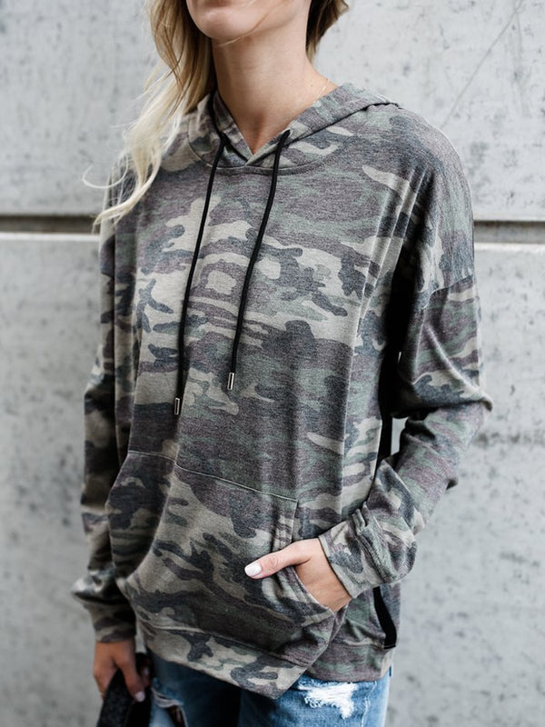 Camouflage Pockets Simple & Basic Pullover Jumper Hoodies