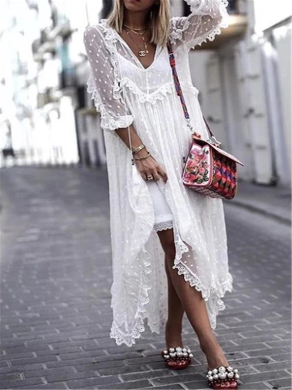 Casual V Neck Long Sleeve  Maxi  Dress