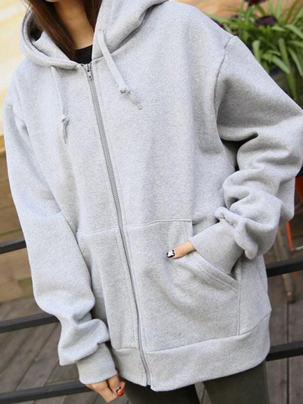 Pockets Solid Zipper Casual Hoodie
