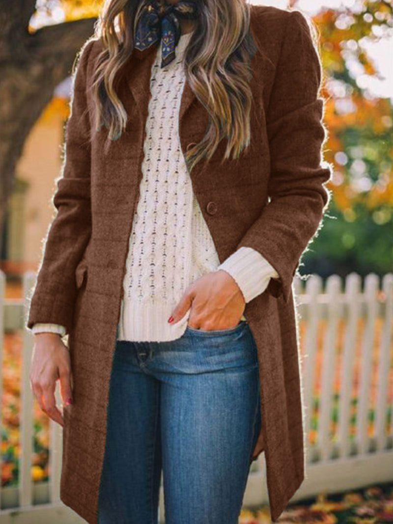 Shawl Collar Long Sleeve Cotton-Blend Outerwear