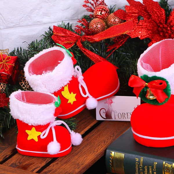 Christmas Candy Boots Santa Gift Holder Basket Xmas Tree Decoration