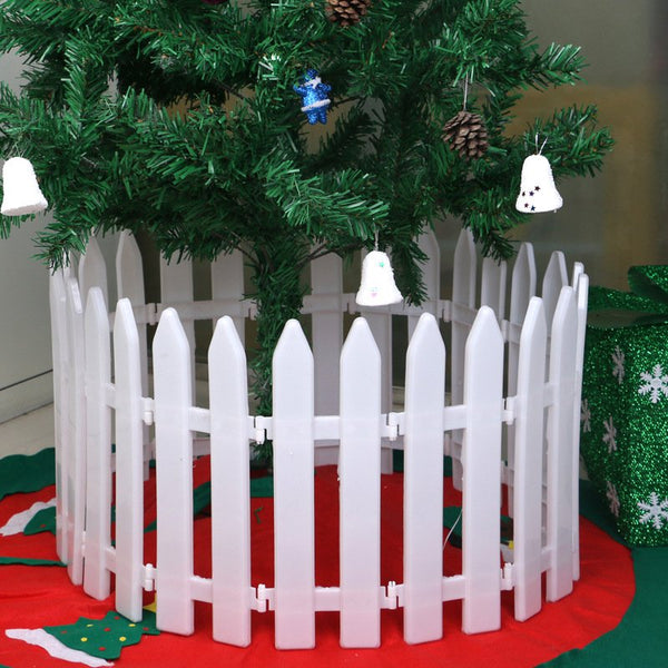 5 Pieces White Plastic Fence Miniature Home Garden Christmas Xmas Tree Wedding Party Decoration