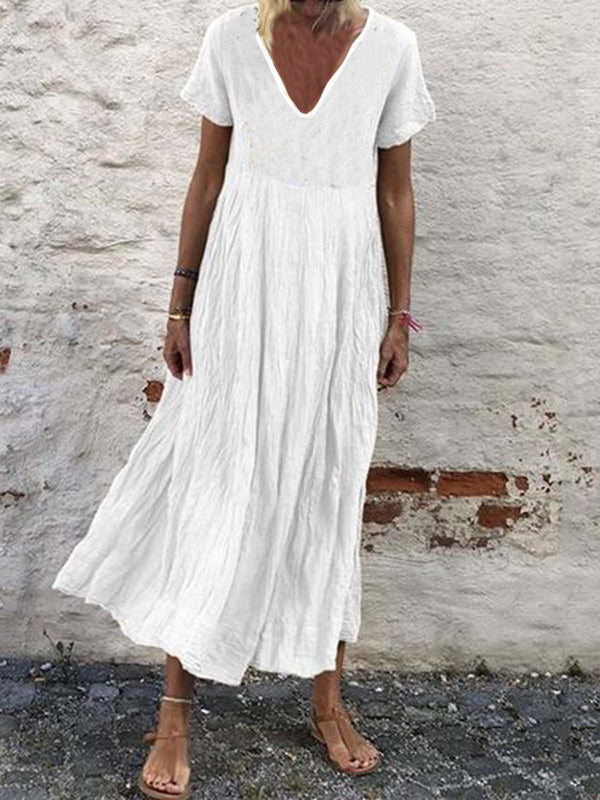 Plain Cotton-Blend V Neck Short Sleeve Dresses
