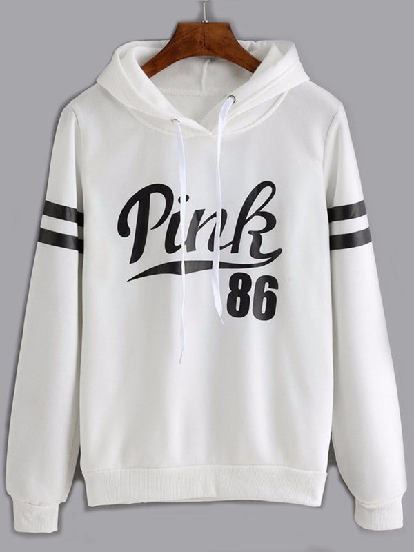 Long Sleeve Casual Pockets Letter Hoodie