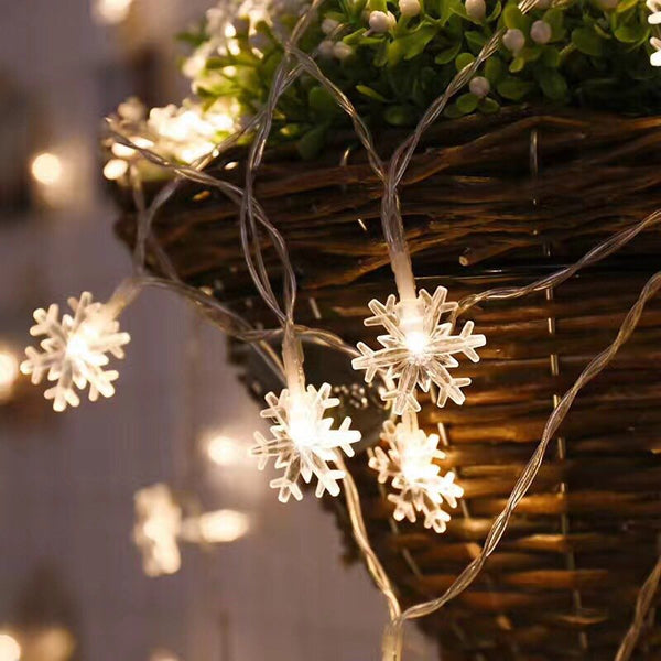6M 40 LED Snowflake Fairy String Light Christmas Party Xmas Home Decoration