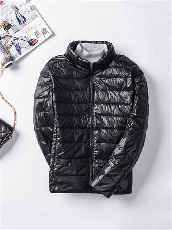 Casual Brief Solid Long Sleeve Warm Light Down Jacket