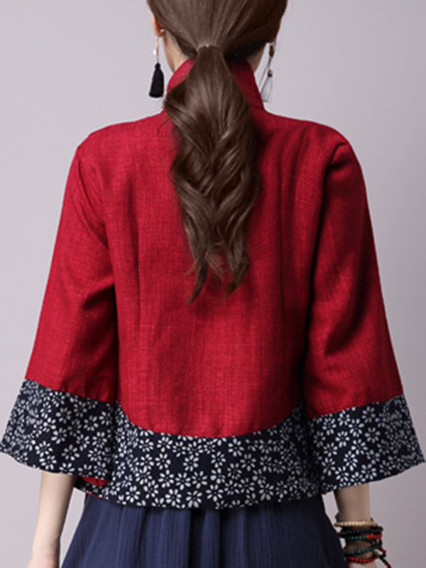 Red Stand Collar Buttoned Vintage Style 3/4 Sleeve Coat