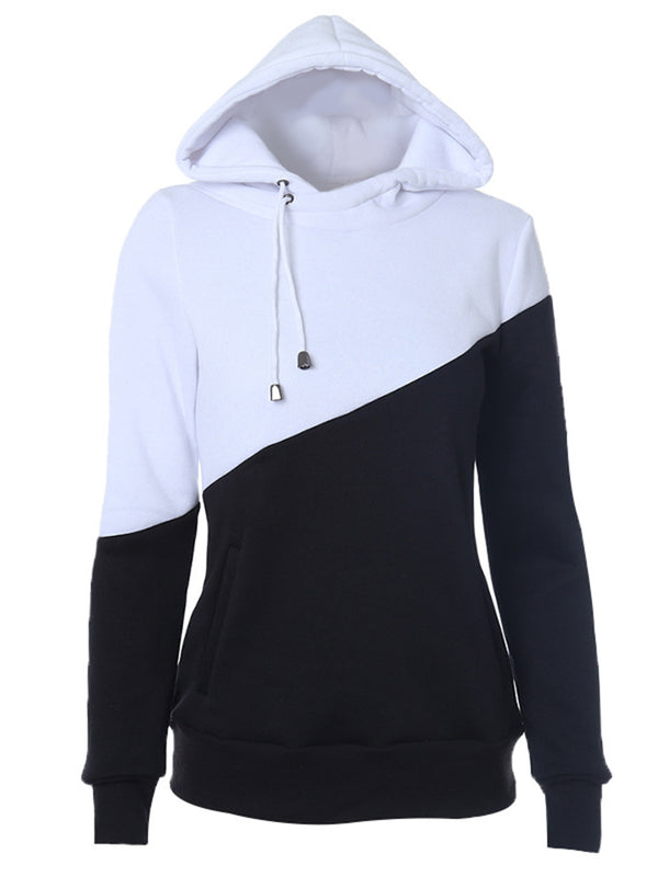 Solid Long Sleeve Cotton-blend Paneled Hoodie