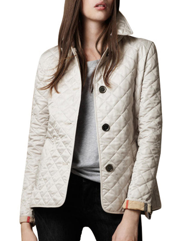 Women's Quilted Coat Turn Down Collar Single Breasted Slim Warm Solid Coat