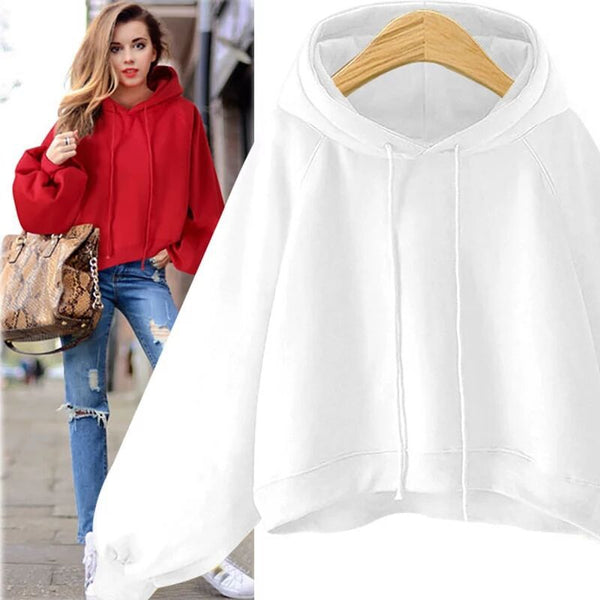 Solid Casual Hoodie Long Sleeve Cotton-blend Chic Hoody