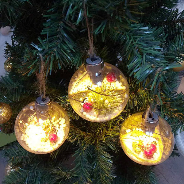 Christmas Tree Pendant LED Transparent Plastic Christmas Balls