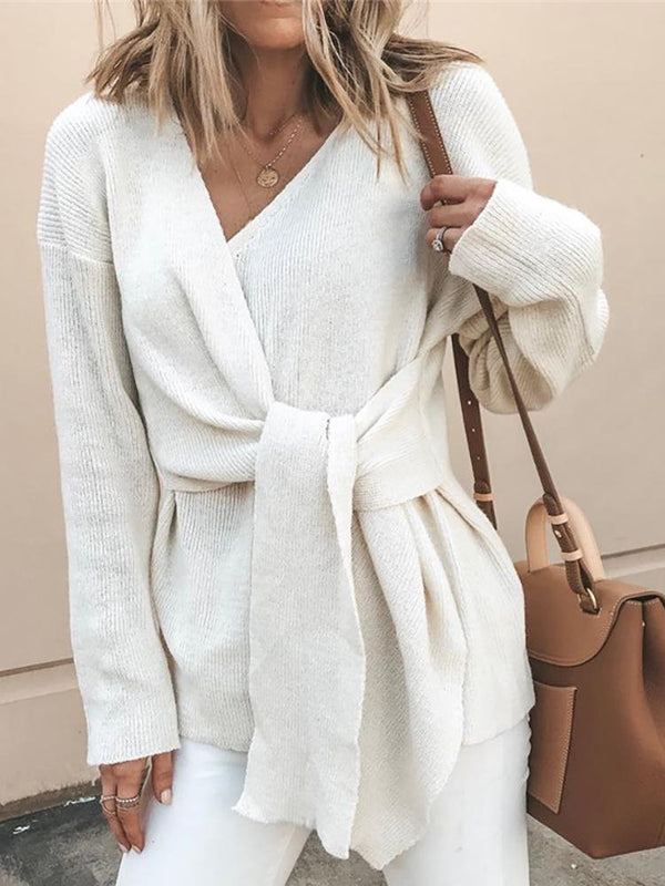 Casual Lace-Up Sweater