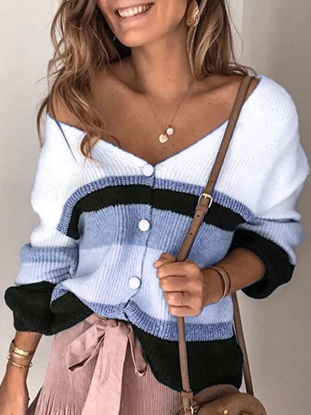 Plus Size V Neck Long Sleeve Striped Sweater