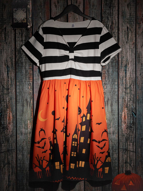 Short Sleeve Abstract Stripe Dresses