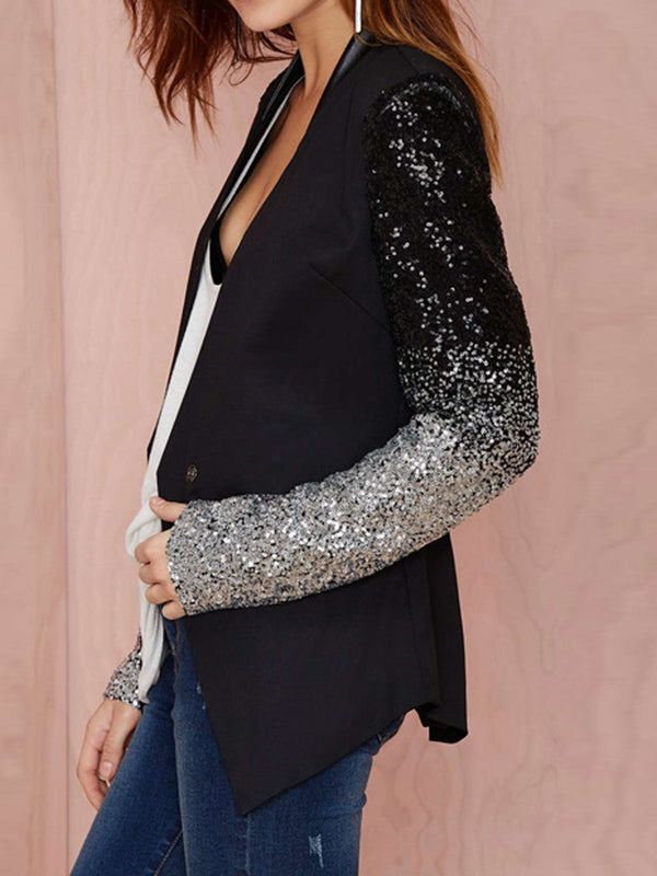 Women's Long Sleeve Open Front Sequined Fashion Blazer Jackets