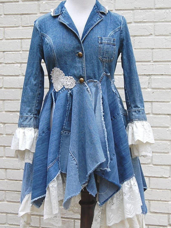Blue Denim Plain Vintage Lapel Outerwear