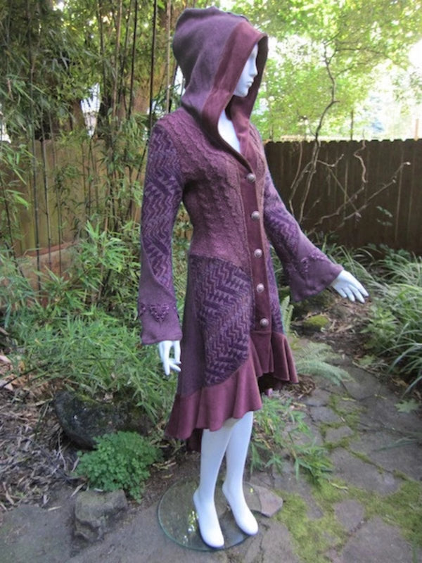 Wine Red Hoodie Cotton Vintage Outerwear