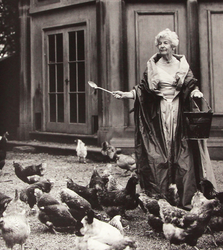 Dowager Duchess of Devonshire Feeding Chickens