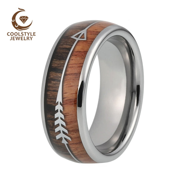 8mm Mens Tungsten Carbide Rings Womens Wedding Bands Koa Wood Arrow Inlay Domed Polished Shiny Comfort Fit - Copper Nickel Five