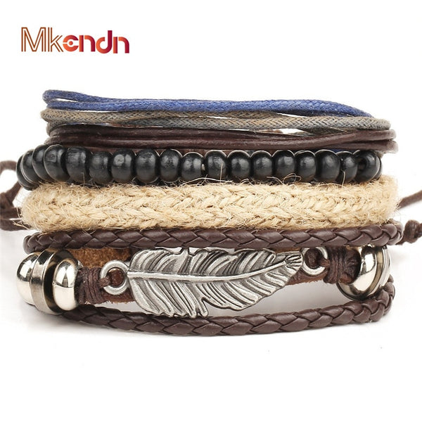 MKENDN Wholesale 4PCS/Set leather bracelet Men multi-layer bead bracelet women's retro punk casual men jewelry bracelet jewelry - Copper Nickel Five