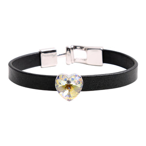 Bracelet: The Heart Collection - Black Leather - 2 Colors