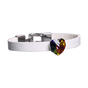 Bracelet: The Heart Collection - White Leather - 2 Colors