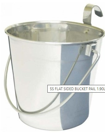 SS FLAT SIDED BUCKET PAIL 1.90Litres - ONE HOOK
