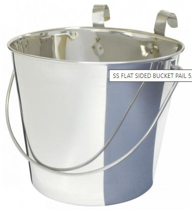 SS FLAT SIDED BUCKET PAIL 5.7Litres - TWO HOOKS