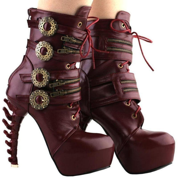 Bottines gothique steampunk rouge