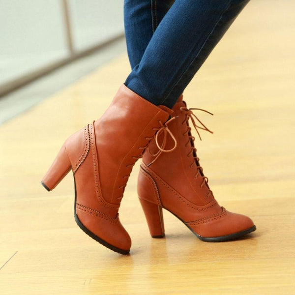 Bottines steampunk femme marron
