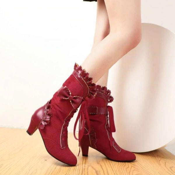 Bottines steampunk rouge femme