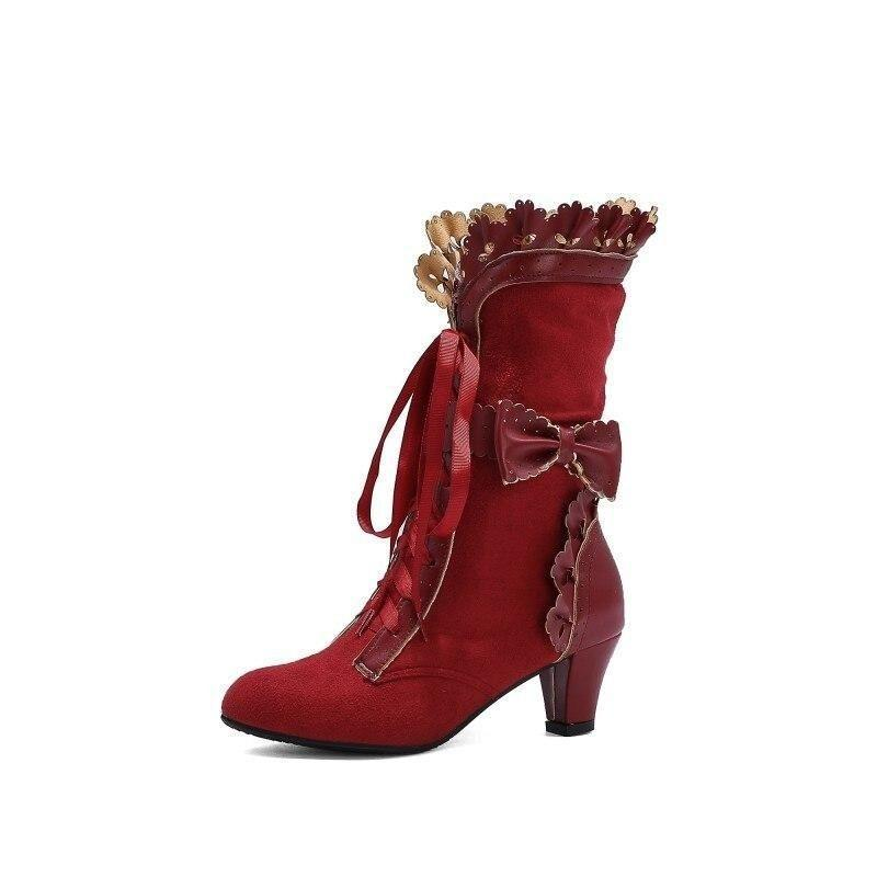 Bottines steampunk rouge