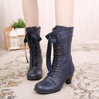 Bottines Victoriennes Lacets Steampunk bleu