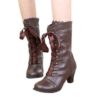 Bottines Victoriennes Lacets Steampunk marron