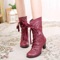 Bottines Victoriennes Lacets Steampunk rouge