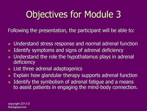 Nurse Practitioner Objectives for Module 3 learning about the neuro-immune-endocrine connection in the adrenals