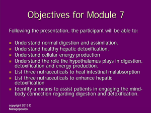 Nurse Practitioner Objectives for Module 7 learning about the neuro-immune-endocrine connection during digestion and detoxification