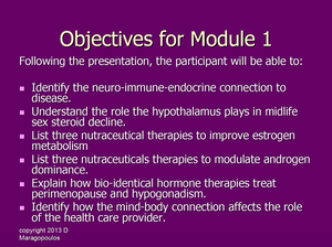 Nurse Practitioner Objectives for Module 1 learning about the neuro-immune-endocrine connection to the gonads