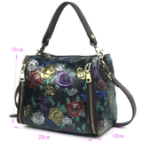 Satchel High Quality Genuine Leather Top Handle Bag Tote Handbag Luxury Floral Women Natural Skin Cross Body Messenger Shoulder Bags - zavitoro