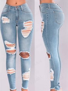 Women Stretched Out Unflattering High-Waisted Denim Pants, Shredded Jeans, Pants And Slim Leggings For Spring, Fall And Summer W - zavitoro