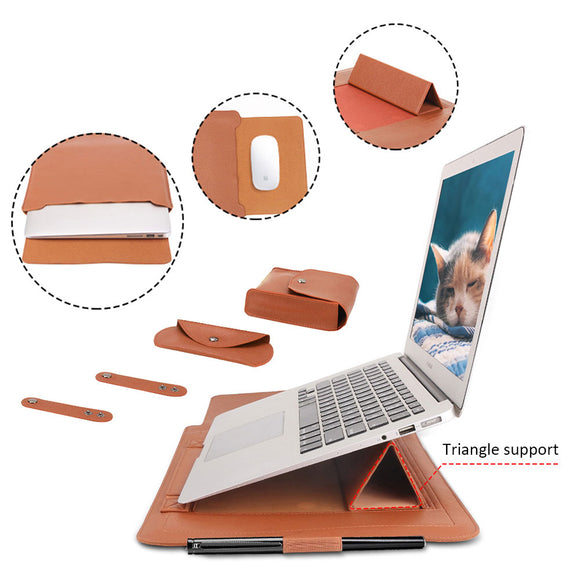 Laptop Bag PU Leather Sleeve Bag Waterproof Case For Macbook Air Pro 13 15 Portable Laptop Notebook Bag With Support Frame - zavitoro