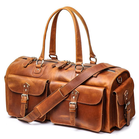 Vegetable oil tanned brown color sports Duffle bag with multi pocket - zavitoro