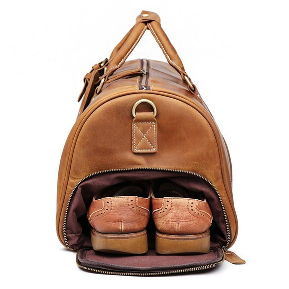 BROWN OIL waxed premium quality Duffle bag by ZaviToro - zavitoro