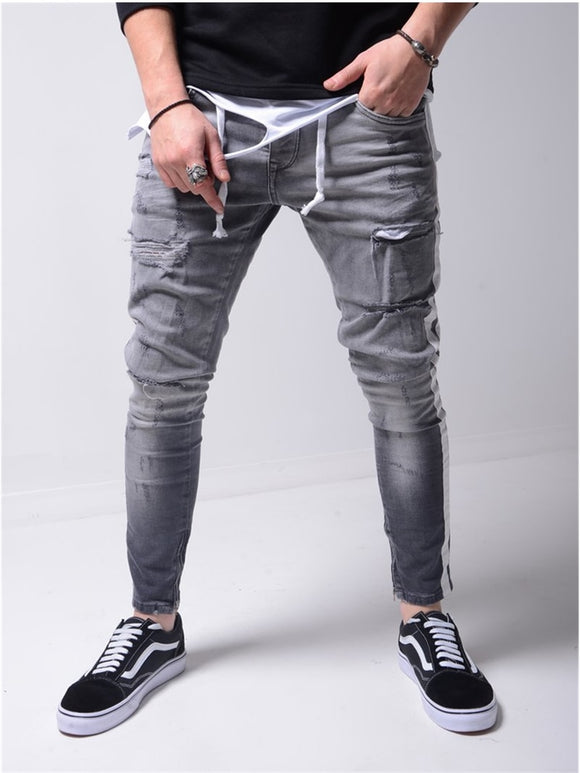 Men's Solid Color Jeans In 2021 A New Fashion Slim Pencil Pants Sexy Casual Hole Design Streetwear - zavitoro
