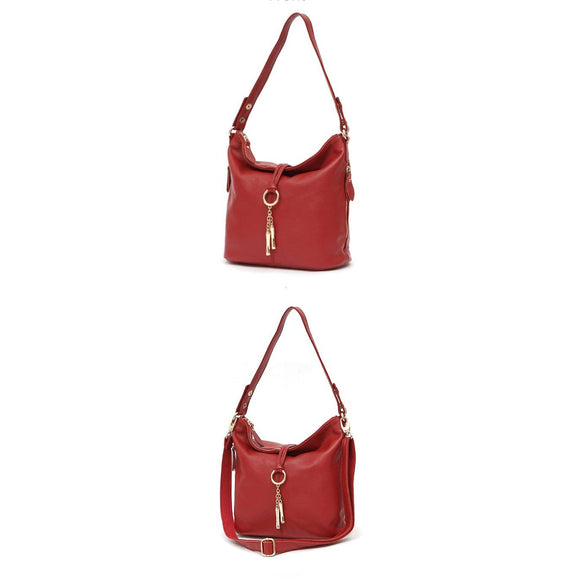Elegant Hobo bag Lady Crossbody Messenger bucket handbag in First Layer real genuine cowhide leather - zavitoro