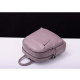 Backpack in first layer genuine real high quality leather in color White for busy women - zavitoro