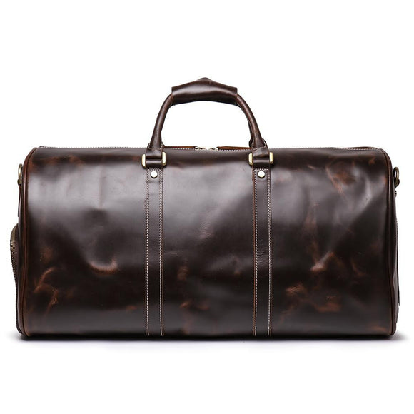 premium quality Oil waxed Duffle top layer strong BLACK duffle bag by ZaviToro - zavitoro
